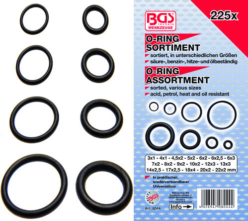O-Ring Sortiment Ø 3-22 mm - 225-tlg.
